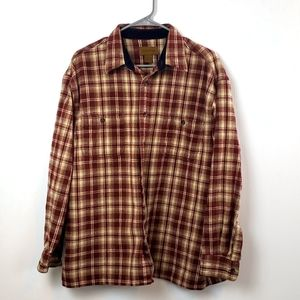 St Johns's Bay Red Thick Plaid Flannel Shirt